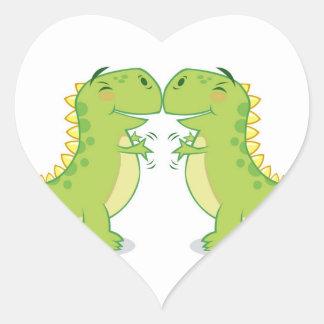 Abrazo de T-Rex… tan cercano Pegatina En Forma De Corazón