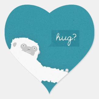 Abrazo de Yeti Calcomanía Corazón Personalizadas