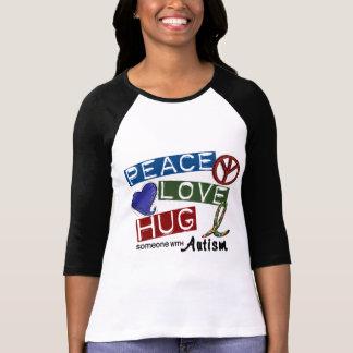 ABRAZO del AMOR de la PAZ del autismo Camisetas