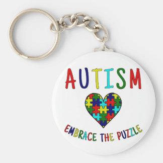 Abrazo del autismo el rompecabezas llavero redondo tipo pin