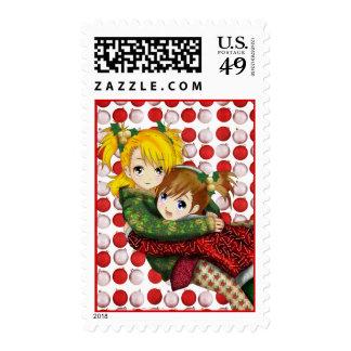 Abrazo del día de fiesta del animado sellos