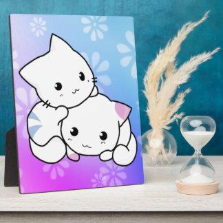 Abrazo del gatito placa de plastico