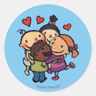 Abrazo del grupo de Leslie Patricelli con los Pegatina Redonda