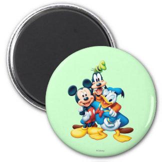 Abrazo del grupo de Mickey y de los amigos el | Imán Redondo 5 Cm
