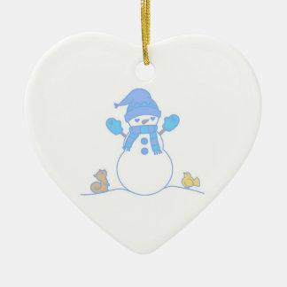 Abrazo del muñeco de nieve de Loveables - azul Ornato