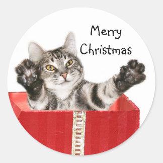 Abrazo del navidad del gatito pegatina redonda