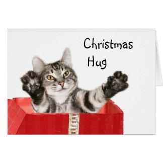 Abrazo del navidad del gatito tarjeta