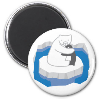 Abrazo del oso polar imán redondo 5 cm