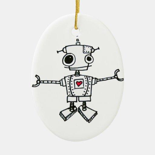 Abrazo del robot adorno navideño ovalado de cerámica