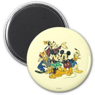 Abrazo del vintage de Mickey y de los amigos el | Imán Redondo 5 Cm