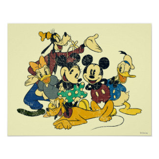 Abrazo del vintage de Mickey y de los amigos el | Póster