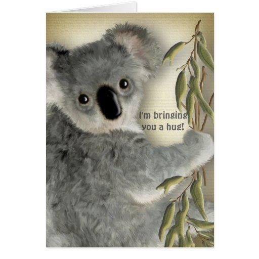 Abrazo lindo de la koala tarjeta de felicitación