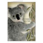 Abrazo lindo de la koala tarjeton