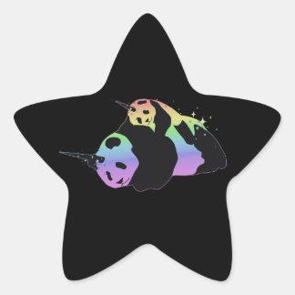 Abrazo mágica de la chispa de las pandas del unico calcomanías forma de estrellas