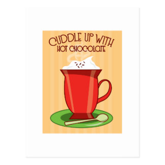 Abrazo para arriba con el chocolate caliente tarjeta postal