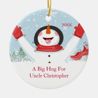 Abrazo para tío Christmas Snowman Ornament Adorno Navideño Redondo De Cerámica