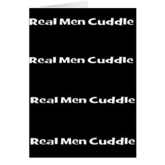 Abrazo real de los hombres tarjeta de felicitación
