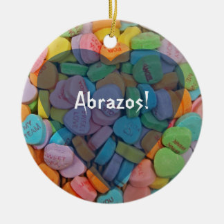 Abrazos-Candy Hearts - Say it in Spanish Christmas Tree Ornaments