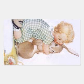Abrazos de conejito adorables antiguos del conejo pegatina rectangular