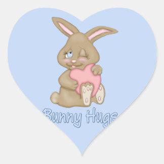 Abrazos de conejito pegatina en forma de corazón