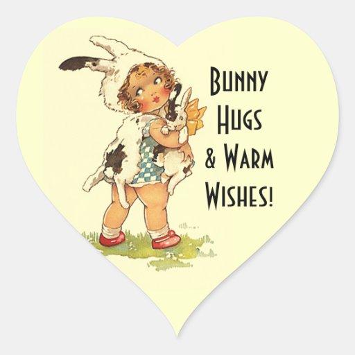 Abrazos de conejito tan dulces del niño del calcomania de corazon