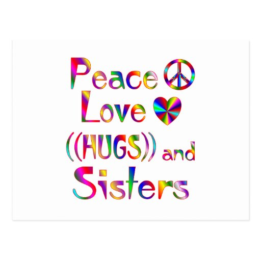 Abrazos de la hermana tarjeta postal