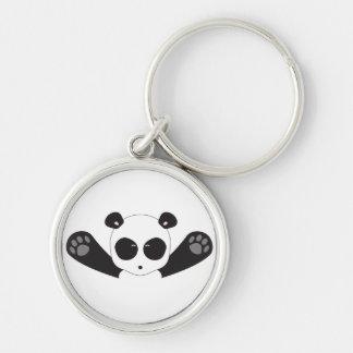 Abrazos de la panda llavero redondo plateado