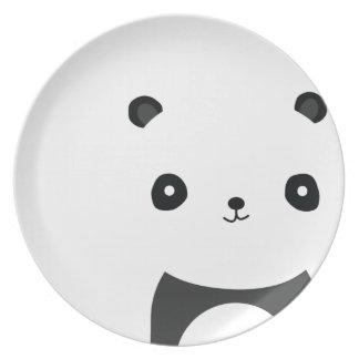 Abrazos de oso de panda plato de cena