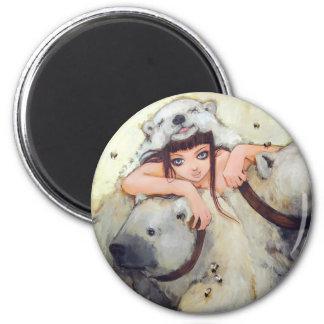 Abrazos de un botón del tratante del poder imán redondo 5 cm