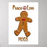Abrazos del amor de la paz impresiones