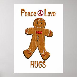 Abrazos del amor de la paz póster