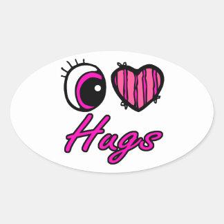 Abrazos del amor del corazón I del ojo de Emo Pegatinas Ovaladas
