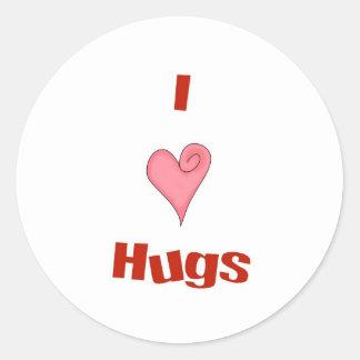 abrazos del corazón pegatina redonda
