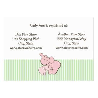 Abrazos del elefante rosado de la tarjeta del tarjetas de visita grandes