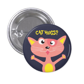 Abrazos del gato pin redondo de 1 pulgada
