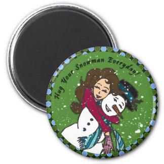 Abrazos del muñeco de nieve imán redondo 5 cm