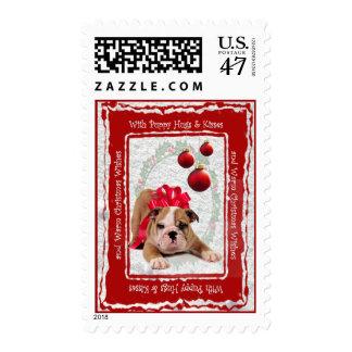 Abrazos del perrito y besos y deseos calientes del sellos postales