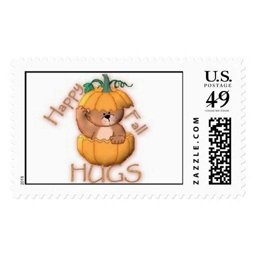 abrazos felices de la caída timbre postal