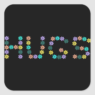 Abrazos florecidos coloridos lindos pegatina cuadrada