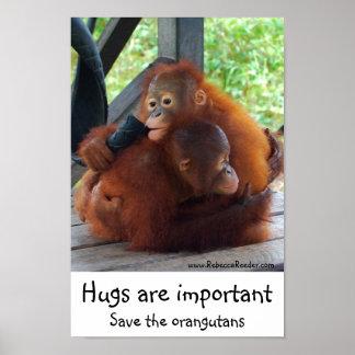 Abrazos inspirados importantes póster