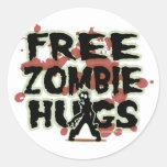 Abrazos libres del zombi etiquetas redondas