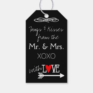 Abrazos y besos de Sr. y de la señora Hand Written Etiquetas Para Regalos