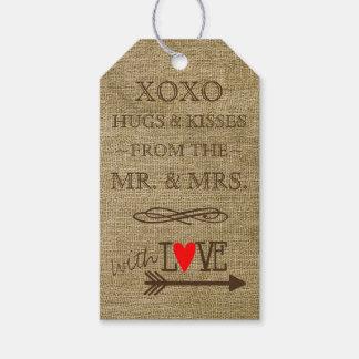 Abrazos y besos de Sr. y de la señora Rustic Etiquetas Para Regalos