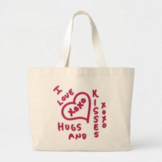 Abrazos y besos del el día de San Valentín Bolsa Tela Grande