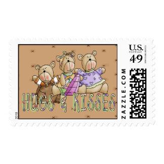 Abrazos y besos timbres postales
