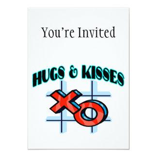"""Abrazos y besos XO Invitación 5"""" X 7"""""""