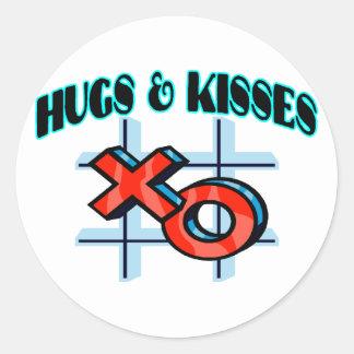 Abrazos y besos XO Pegatina Redonda