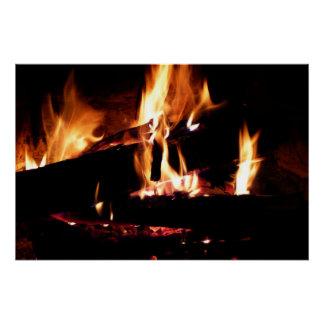 Abre una sesión la fotografía caliente del fuego perfect poster