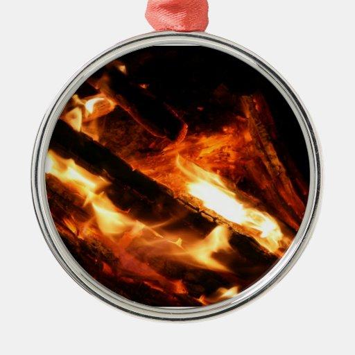 abre una sesión la fotografía de las llamas adorno redondo plateado
