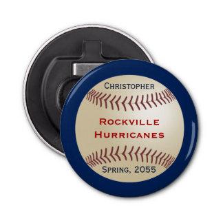 Abrebotellas del botón para el equipo de béisbol, abrebotellas redondo